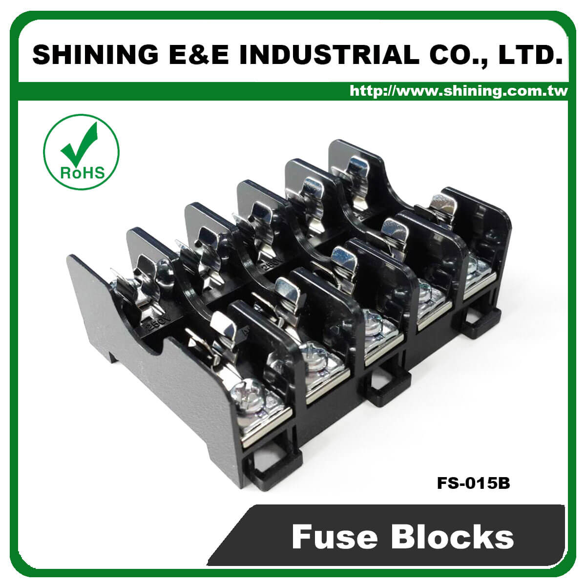 FS-015B For 6x30mm Fuse Din Rail Mounted 600V 10A 5 Way Fuse Block