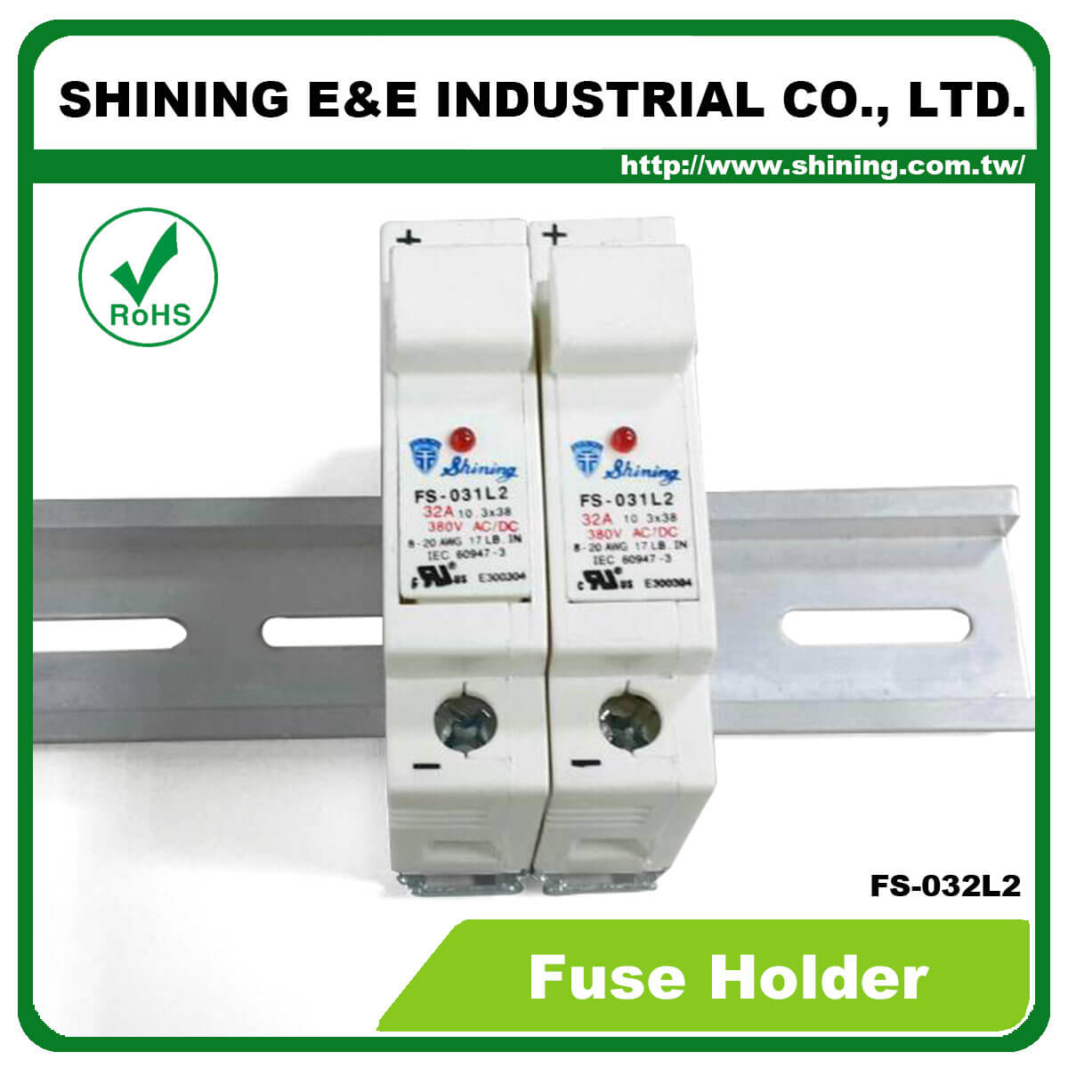 FS-03XL2 Series-35mm 380V 32A Din Rail Mounted Fuse Holder