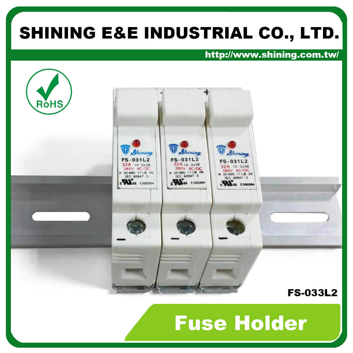 Fs 03xl2 Series 35mm 380v 32a Din Rail Mounted Fuse Holder Electrical Fuses Holders Circuit Breakers 033l2 10x38 Rt18 32 Cartridge