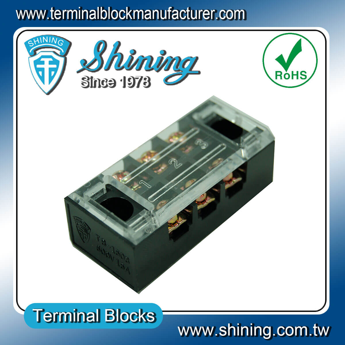 TB-1503 600V 15A 3Pole固定式柵欄端子台