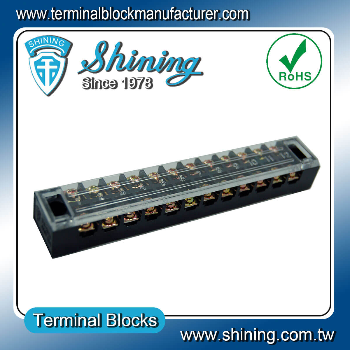 TB-2512L 600V 25A 12Pole固定式柵欄端子台