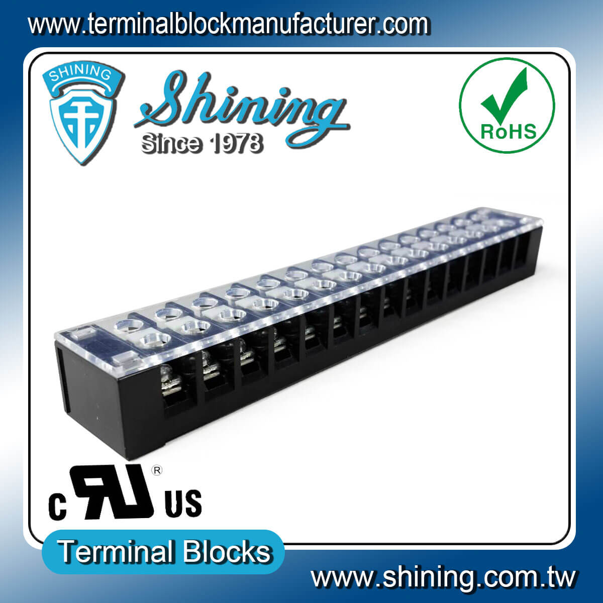 TB-32515CP Fixed Type 300V 25A 15 Position Barrier Terminal Strip